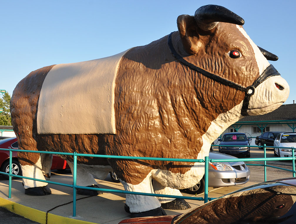 A giant bull sitting in front of a car dealership
