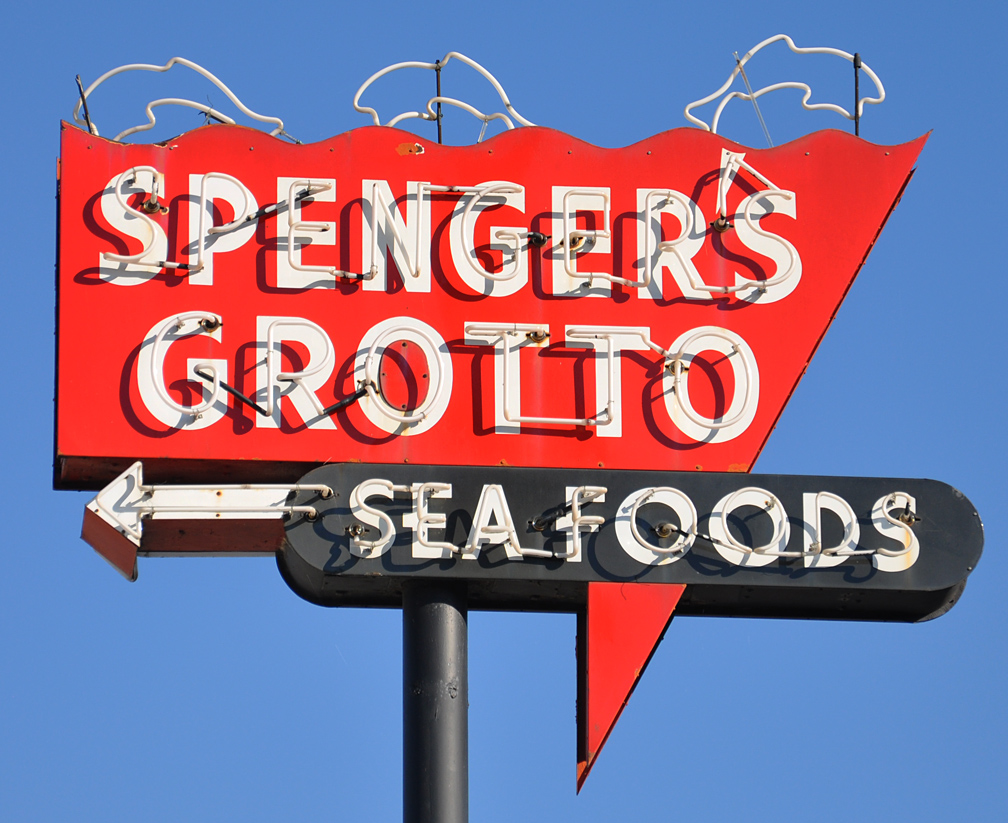 Neon extension signs for Spenger s fresh fish grotto