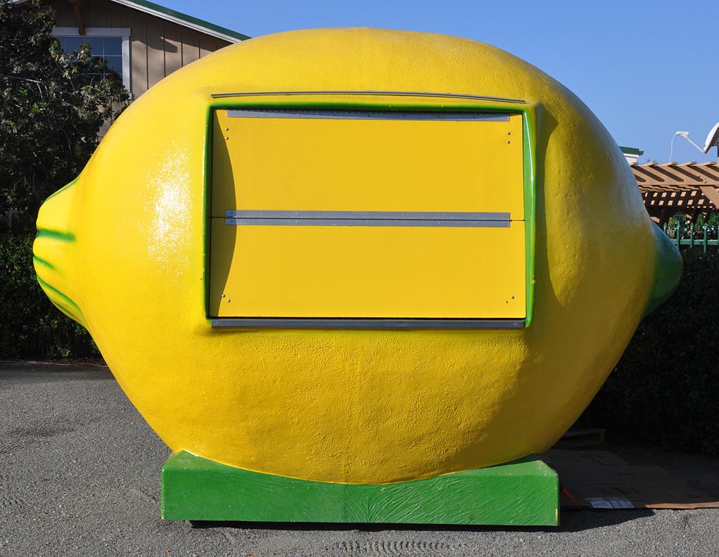 Giant fruit statues for Lemon shaped lemonade stand